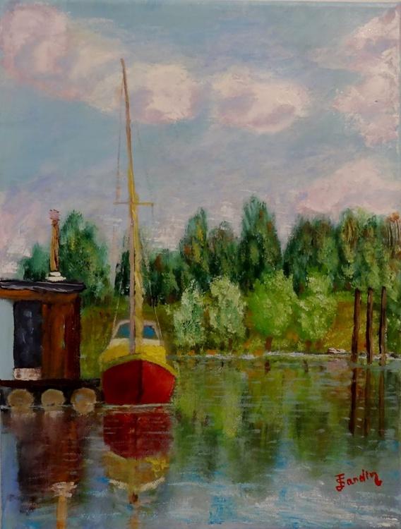 Sailing ship at the river - Image 0