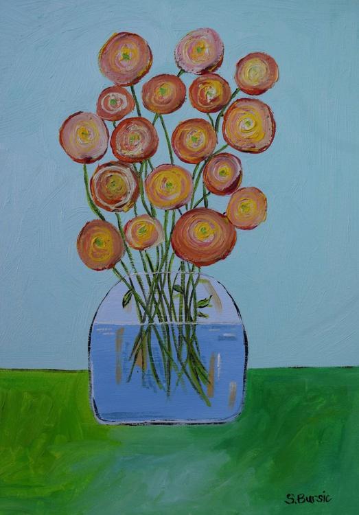 Vase with red orange flowers - Image 0
