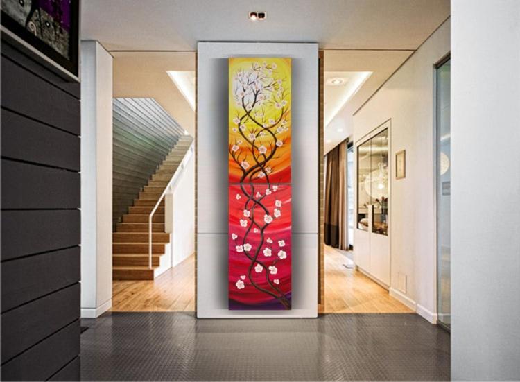 VERTICAL long painting 50x200cm Sunset landscape Cherry blossom 74 flowers decor original floral art stretched canvas acrylic sakura art wall art by artist Ksavera - Image 0