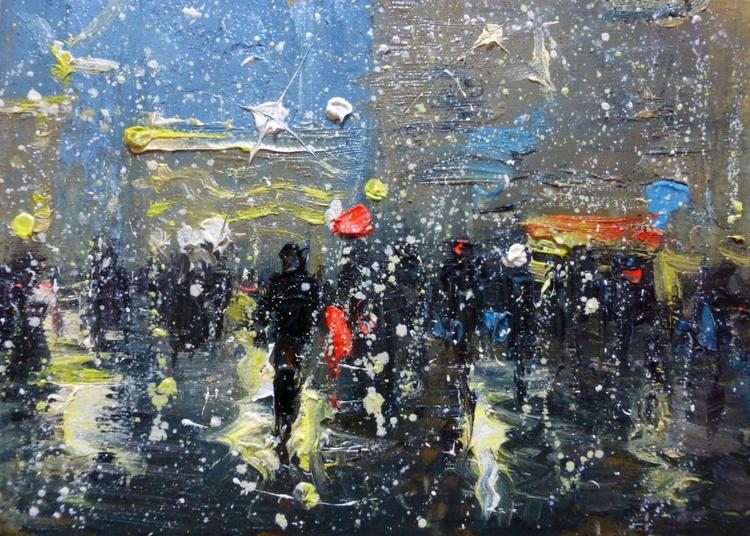 People. Evening rain, oil painting 35x25 cm - Image 0