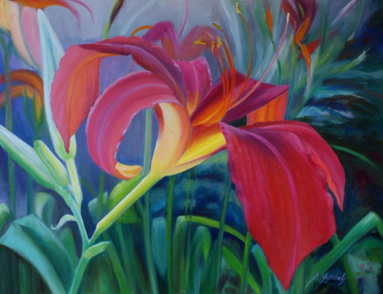 Lily oil on canvas, flowers - Image 0