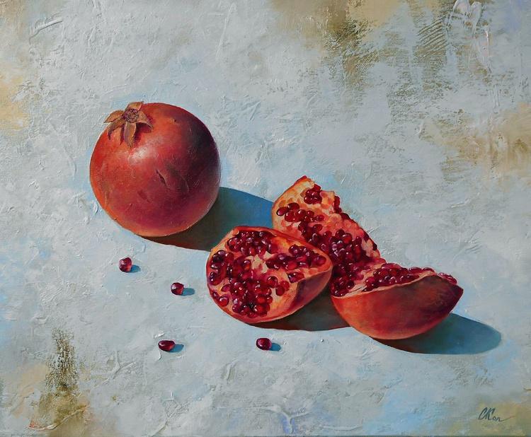 Pomegranates/Still Life/Original oil on canvas/Free Shipping - Image 0