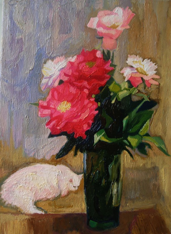 Peonies and white cat - Image 0