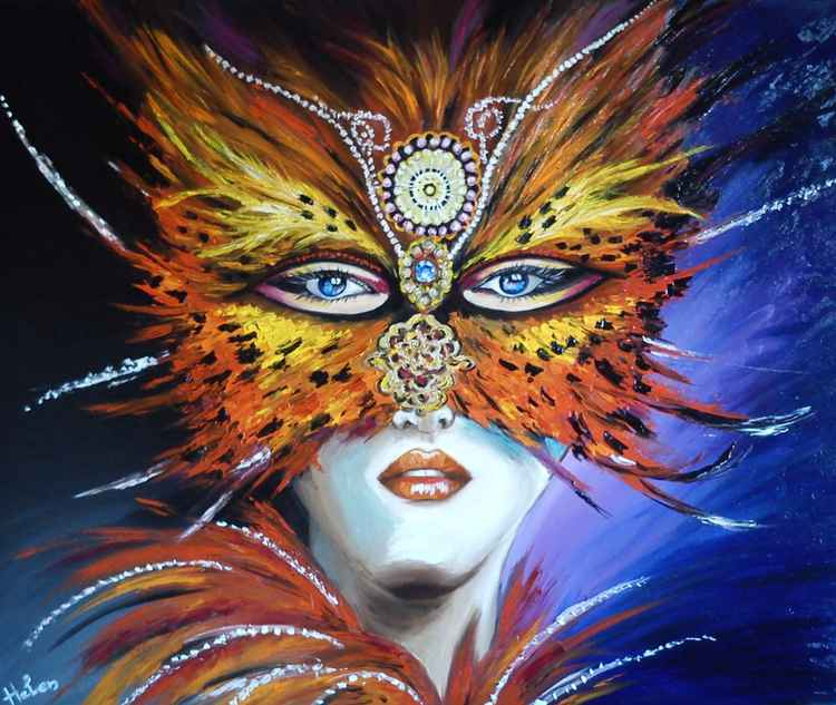 Occult woman with venetian mask -