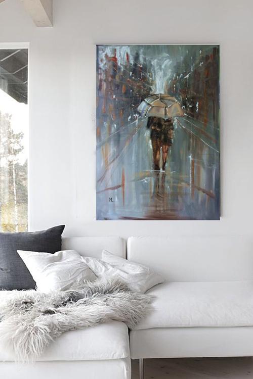 "100x70cm LARGE FORMAT ""  OUR AUTUMN  ... "" original painting CITY palette knife GIFT MODERN URBAN ART OFFICE ART DECOR HOME DECOR GIFT IDEA - Image 0"