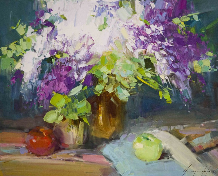 Still life with Lilacs Handmade oil Painting One of a Kind - Image 0