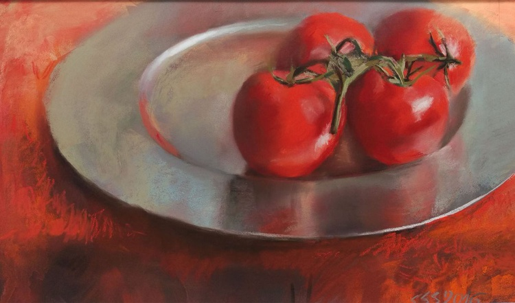 Tomatoes on silver plate - Image 0