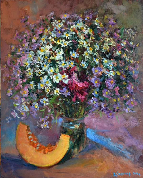 Flowers and pumpkin - Image 0