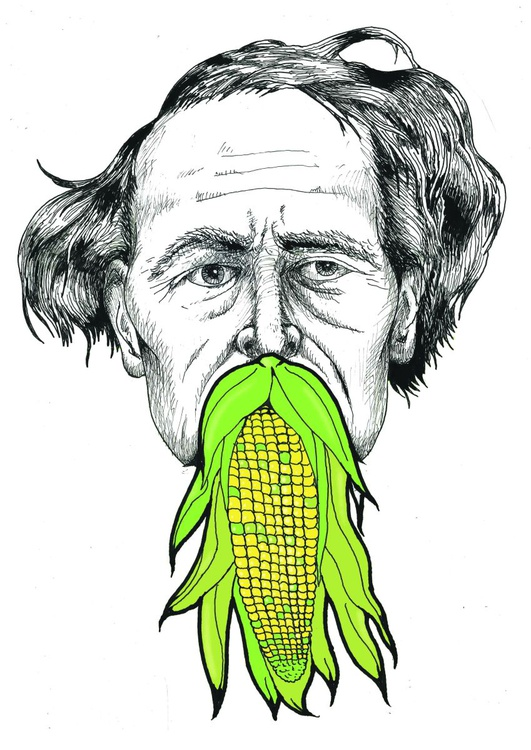 Charles Dickens with Corn on the Cob Beard -Limited Screen Print and Hand Painted - Image 0