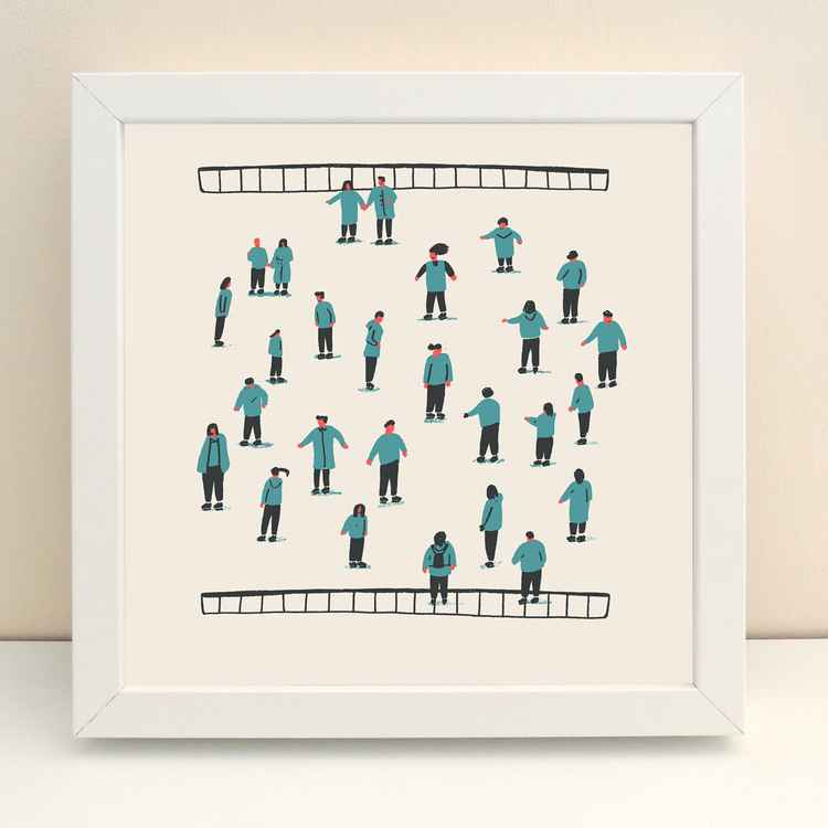 'Ice Skaters' Illustrated Print