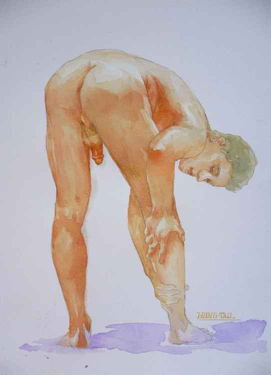 original erotic art watercolour  male nude man on paper #16-5-11-04