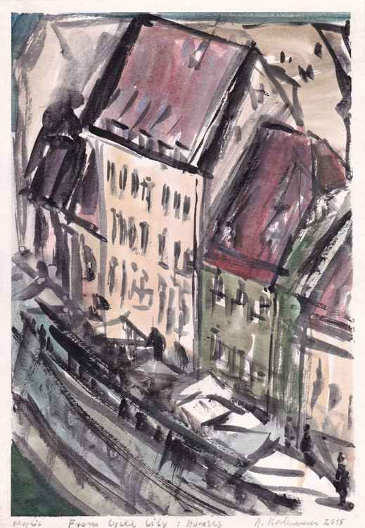 From Cycle City: Houses, December 2015, acrylic on paper, 29,6 x 20,6 cm -