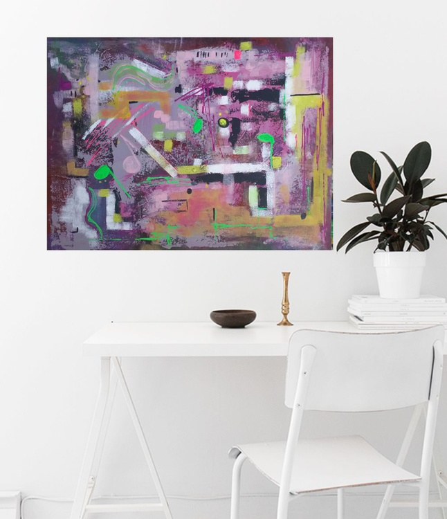 80x60cm , wall art, Free Spirit,  Abstract Painting by Veronica Vilsan - Image 0