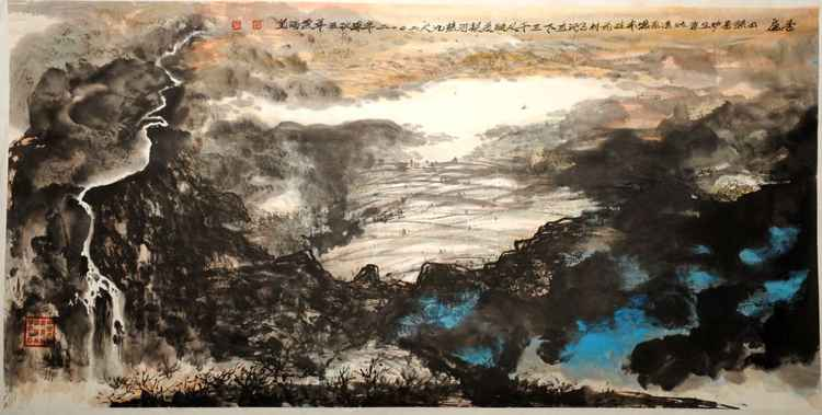 Chinese watercolour Landscape paining, with heavy colour-26 -