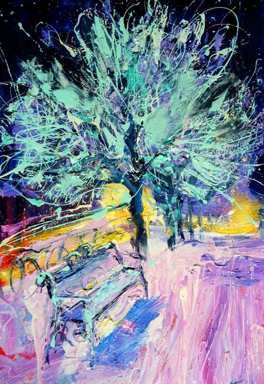 New Year, oil painting 60x90 cm - Image 0