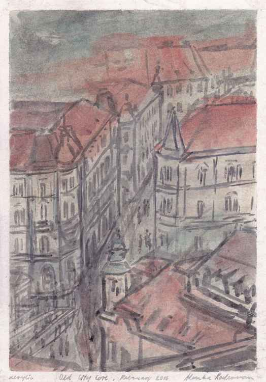 Old City Core / Ljubljana, February 2016, acrylic on paper -