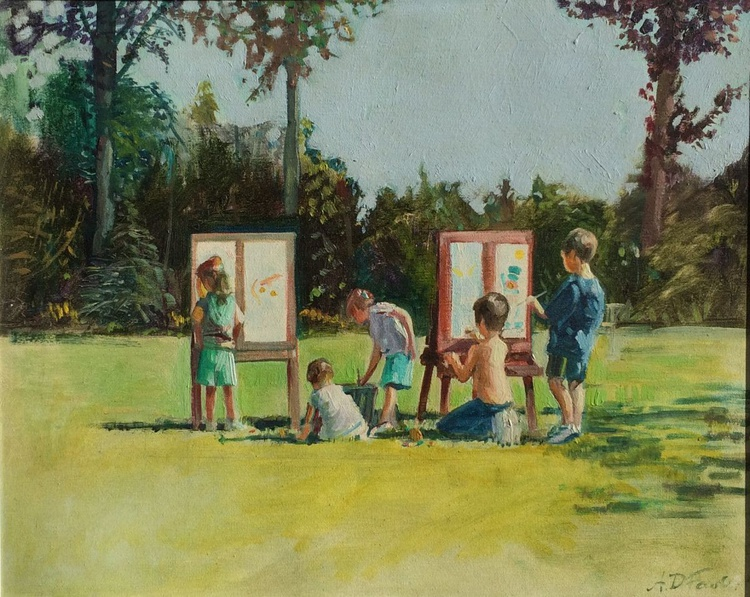 The Children Painting in the Garden - Image 0