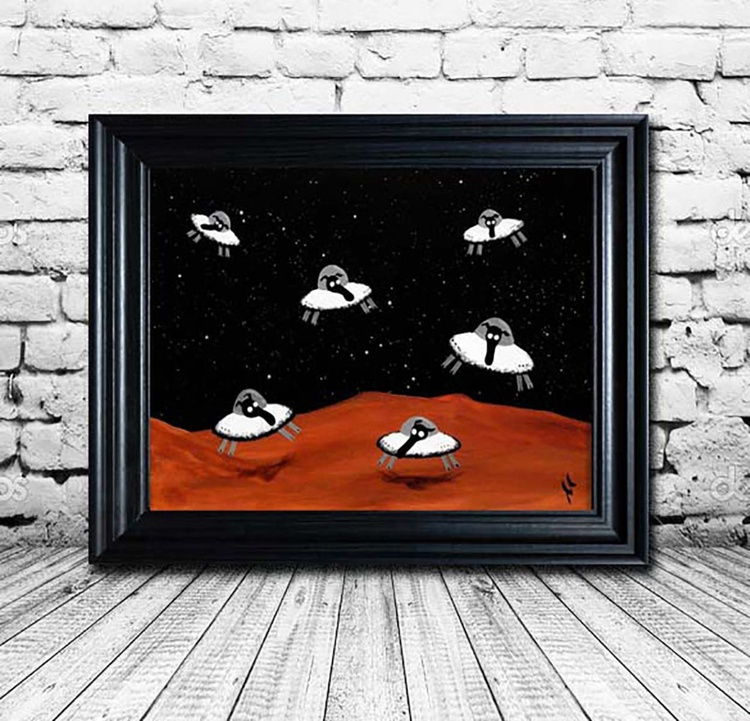 Space Sheep (Ready Framed) - Image 0