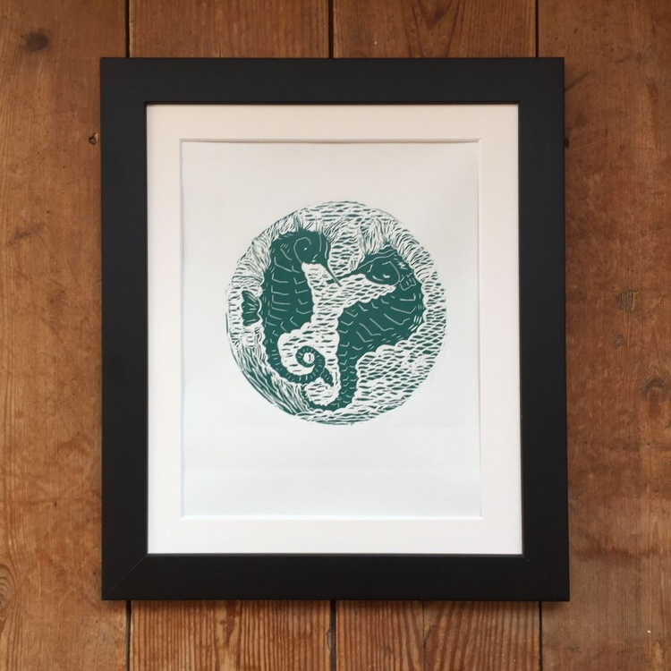 Sea Horses- original handmade limited edition Linocut - Image 0