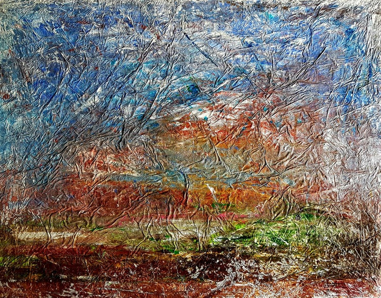 Senza Titolo 188 - abstract landscape - 106 x 80 x 2,50 cm - ready to hang - acrylic painting on stretched canvas - Image 0