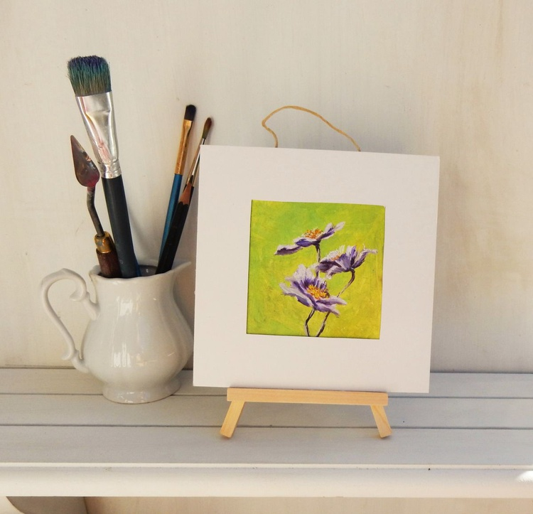 Flowers on green. Miniature. Easel is included. Gift painting. Ready to hang. - Image 0