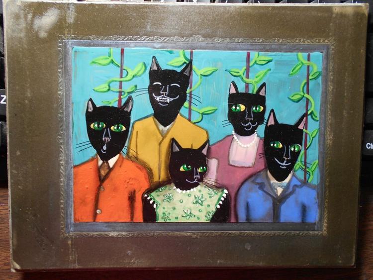 Black Cat Family Portrait Original Painting on Vintage Photo - Image 0