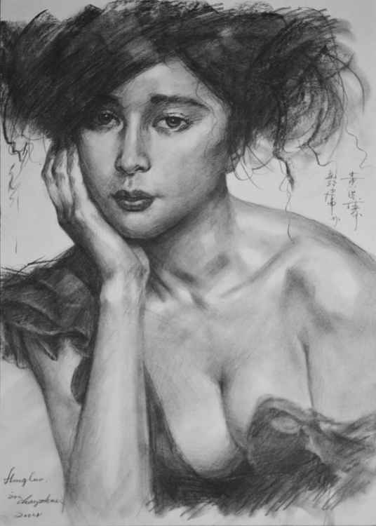 original art drawing charcoal portrait of women on paper #16-4-13-10 -