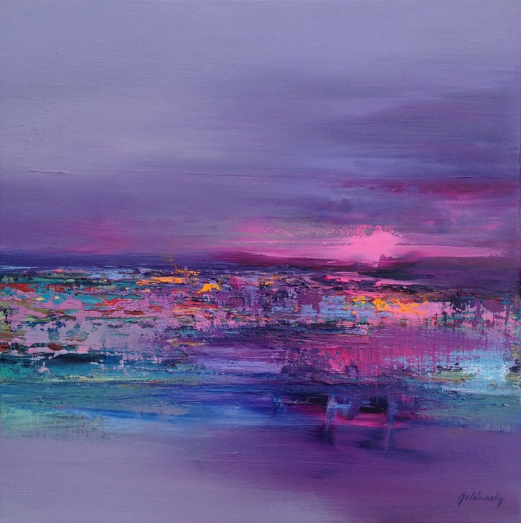 Party Time on the Island - 50x 50 cm, abstract landscape oil painting in purple magenta and pink - Image 0