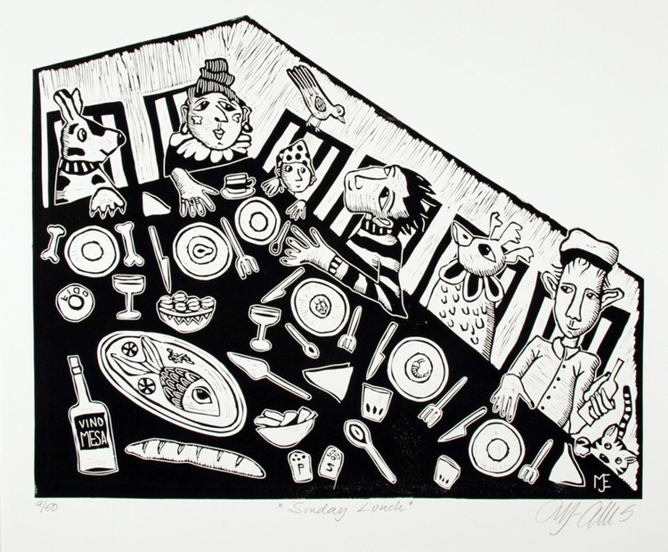 Sunday Lunch, black and white linocut - Image 0