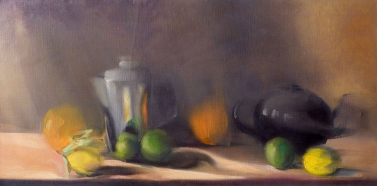Still Life: Teapot, fruit and silver jug, oil on canvas 40x80 cm, ready to hang - Image 0