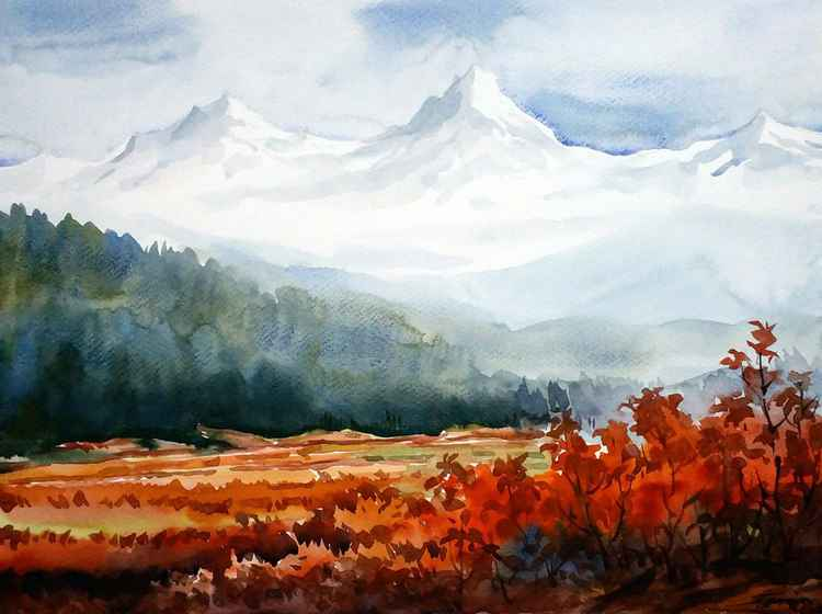 Flowers Garden & Himalayan Snow Peaks - Watercolor on Paper -