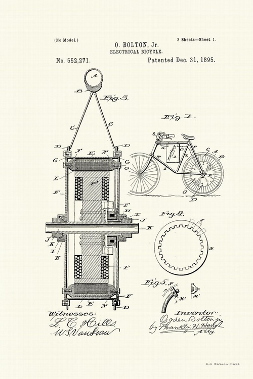 Electric Bicycle Patent - Circa 1895 - Image 0