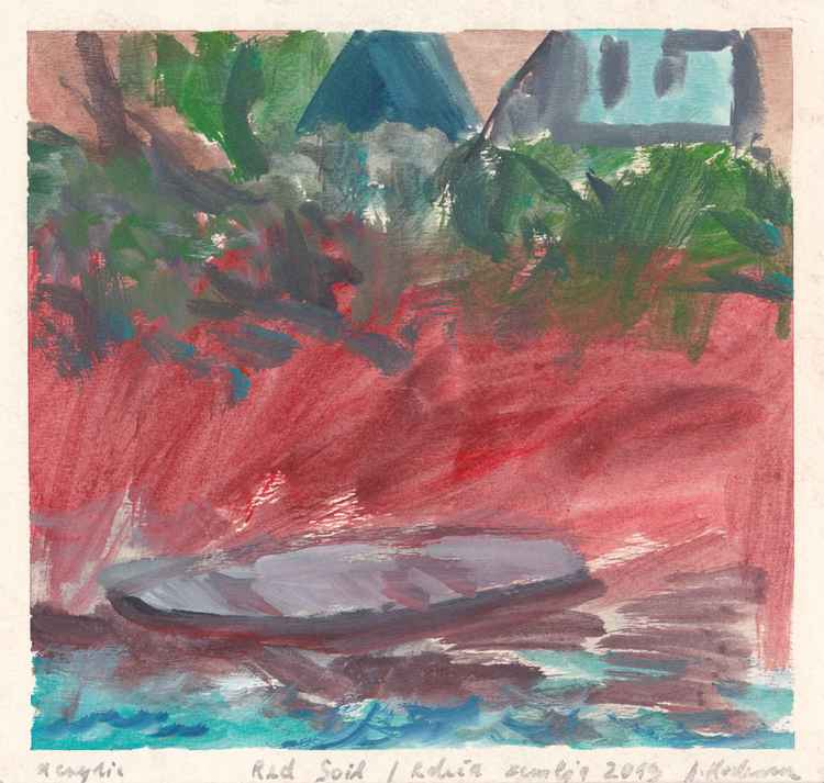 Red Soil - Rdeča zemlja, Banjole, Croatia, August 2013_acrylic on paper 18,9 x 19,9 cm -