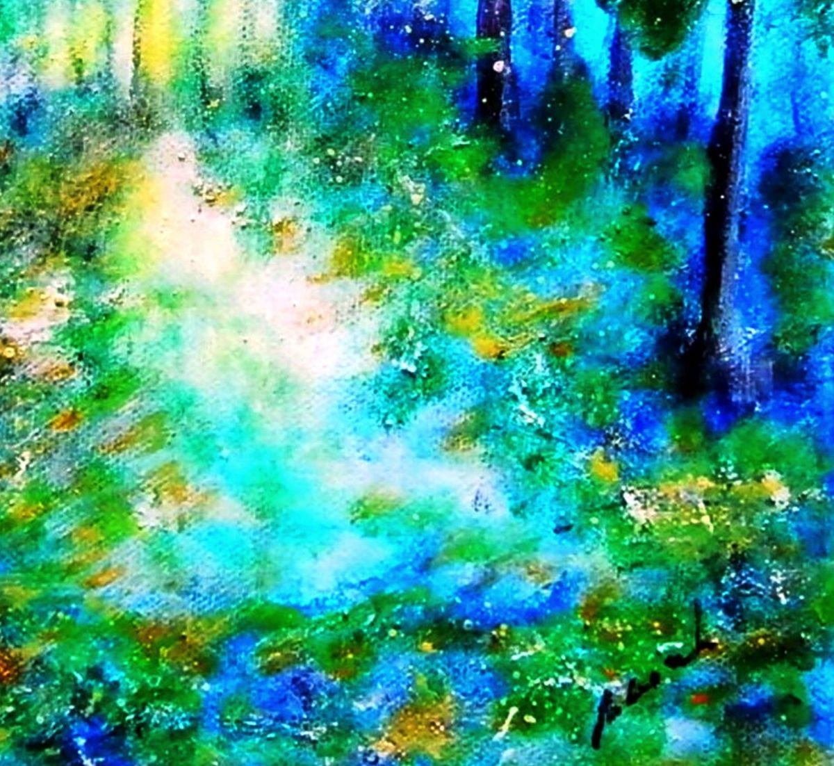 The blue green forest 2016 acrylic painting by em lia for Painting a forest in acrylics