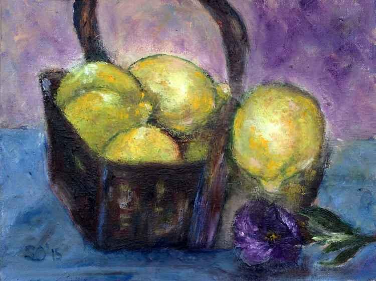 "Lemons in the Basket  9""x12"" (22.86x30.48cm)"