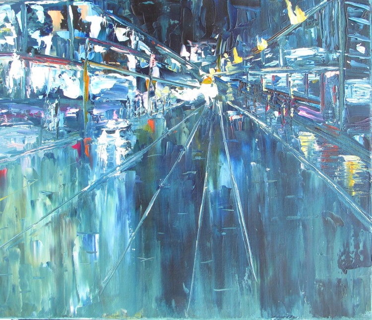 New York Broadway Lights of The Life I left behind, Handmade oil painting One of a kind - Image 0