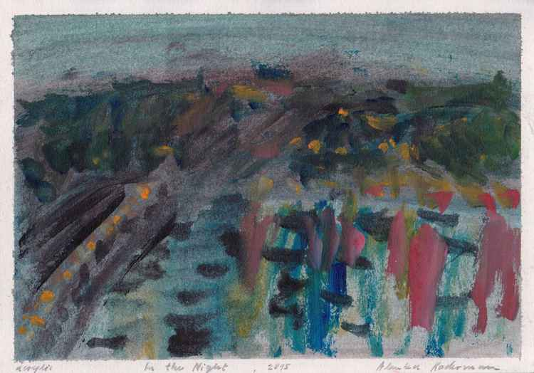 In the Night, Koper, August 2015_acrylic on canvas 20,8 x 29,6 cm -