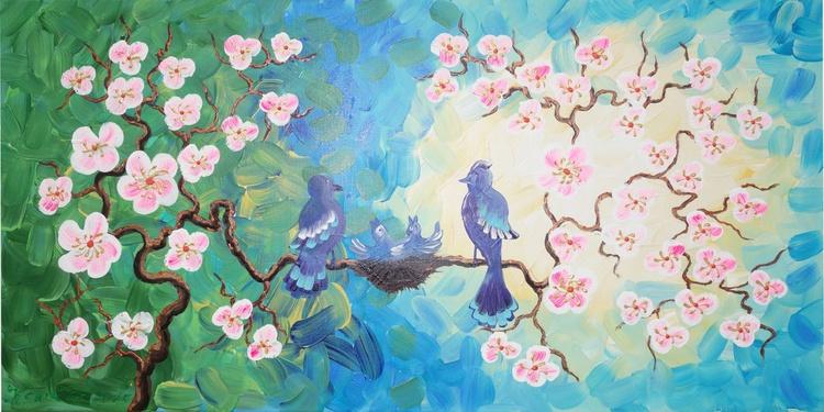 Cherry blossom 48 and blue bird painting flowers decor original floral art 50x100x2 cm stretched canvas acrylic sakura art wall art by artist Ksavera - Image 0