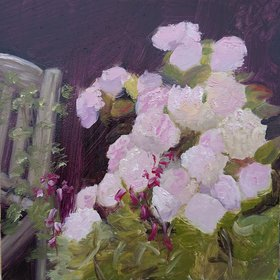 """English Garden Hydrangeas, en plein air landscape oil painting, 2017"" by Tracy Eisa"