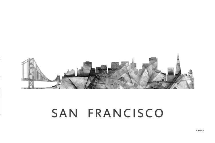 San Francisco California Skyline WB BW