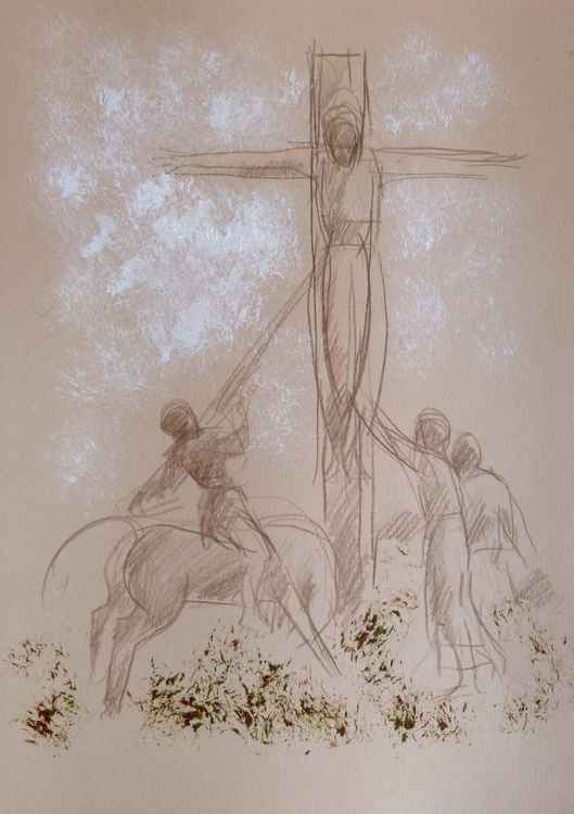 Crucifixion 1, ink and pencil drawing 29x42 cm