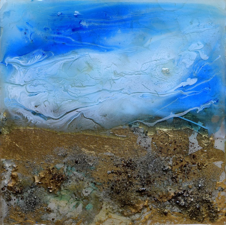 Series of Sand & Water II / Abstract / Mixed Media on wooden box - Image 0