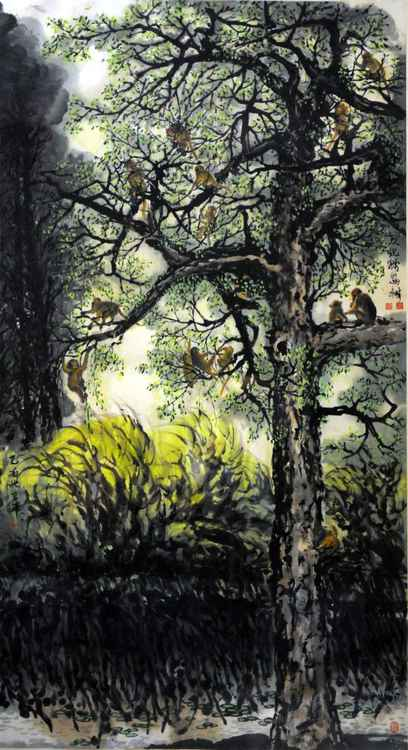 Chinese watercolour natrual paining, monkeys and trees-33