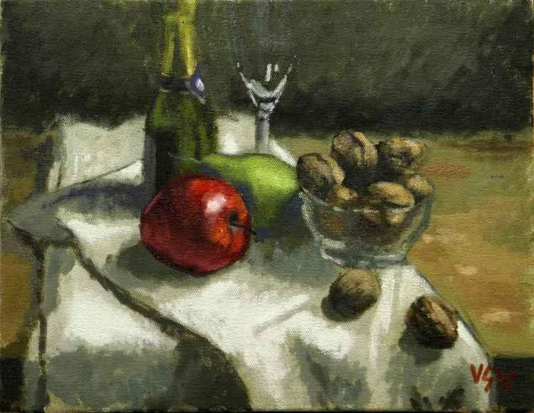 Bodegó de poma, pera i nous -