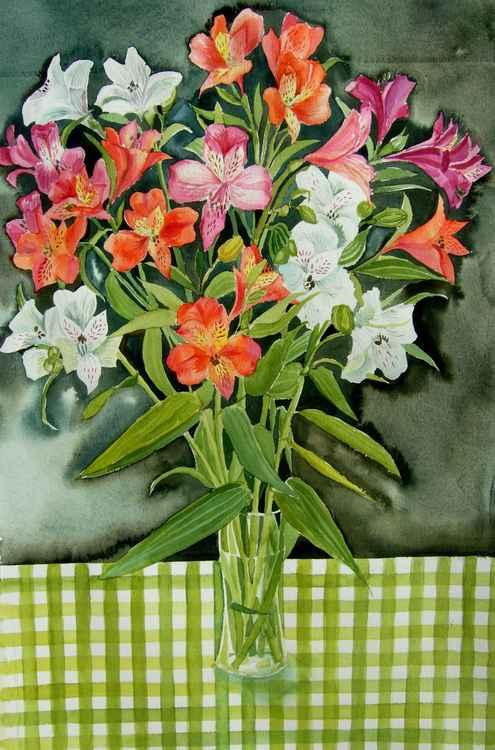 Freesias on Gingham