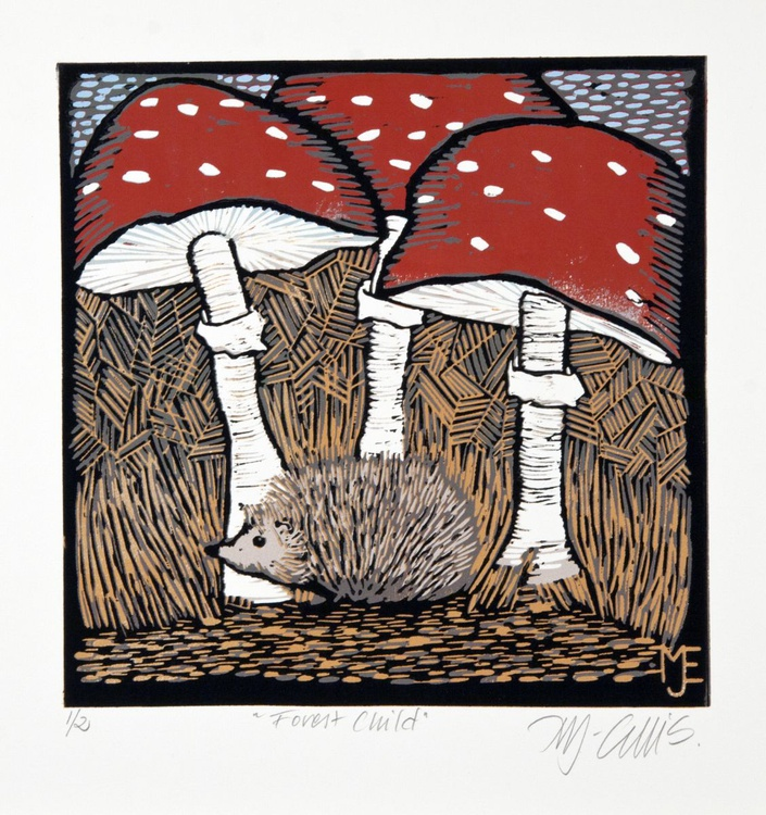 Forest Child, linocut reduction - Image 0