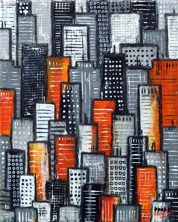 City Block Orange and Grey - Image 0