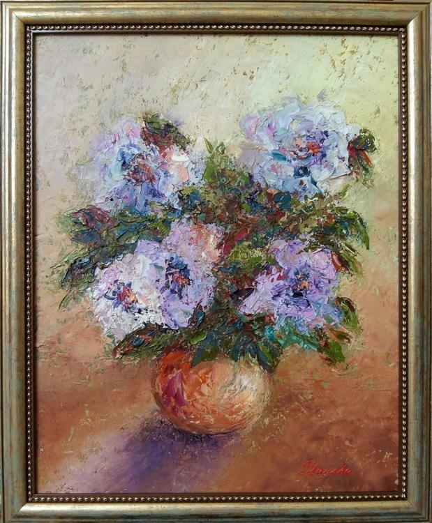 Lilac Roses, 40x50 cm, in frame, original artwork,  FREE SHIPPING - Image 0