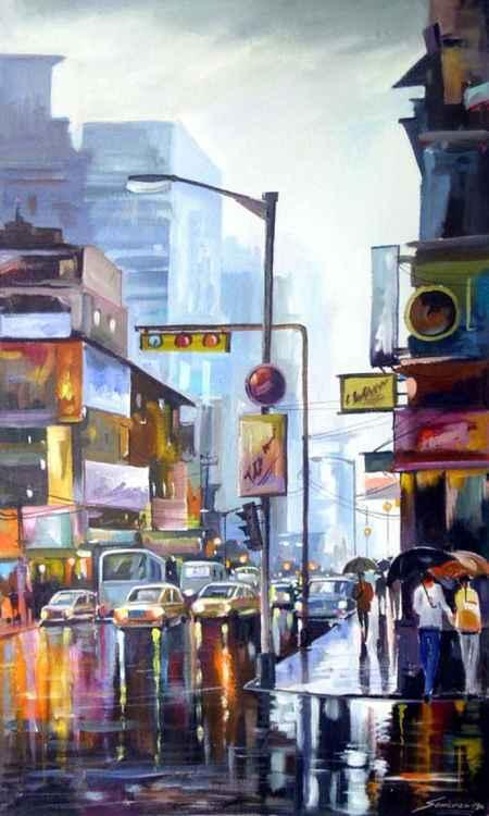 City Street at Rainy day-Acrylic on Cnavas