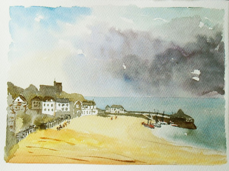 Storm approaching, Viking Bay Broadstairs, an Original Watercolour Painting. - Image 0